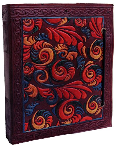 (LS Leather Journal Notebook Diary 5x6 Handmade Blank Book Vintage Writing Intricate Leaves Design Bound Cover New Sketchbook Brown Retro Pages Travel Antique)