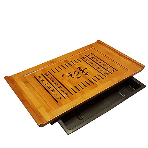Bamboo GongFu Tea Serving Tray L21'' x W12'' x H2.75'' by THY COLLECTIBLES (Image #1)