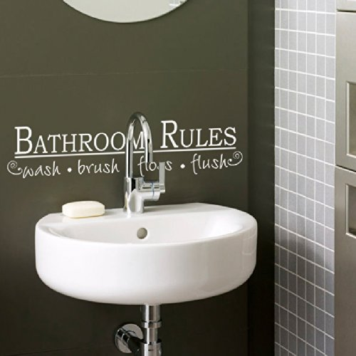 Bathroom Rules Wall Decal Vinyl Wall Quote Shower Room Wall Sticker Wall Words Wal Mural Wall Graphic Bathroom Wall Art Decor Black