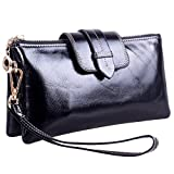 Women's Large Capacity Purse Genuine Leather Wristlet Wallet Clutch Black