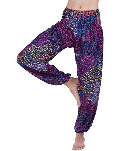 Rita & Risa Women's Boho Elastic Waist Printed Long Pajama PJ Bottoms Pants (Satin Girls Capris)