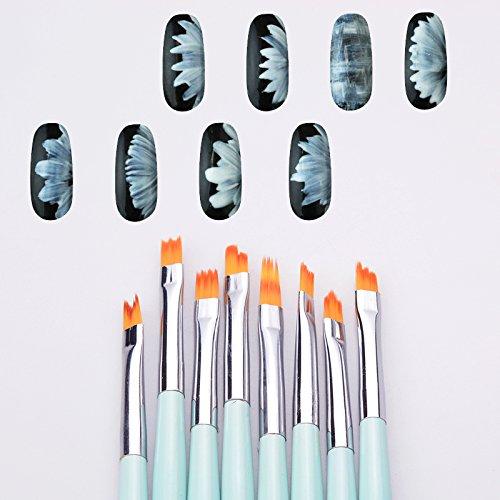 Artlalic 8pcs nail art French Lot de pinceaux de menthe dégradé de couleur de forme demi-lune pour effet pétales Fade Acrylique Drawing Pen