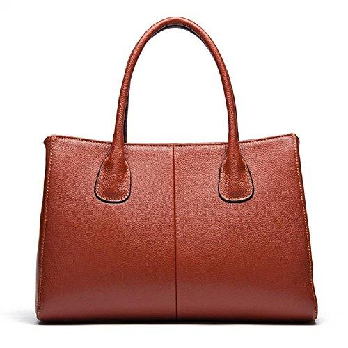 CELO Europa y América tendencia de la moda bolsa de cuero simple y elegante bolso ocasional primera capa de bolsos de cuero , white brown
