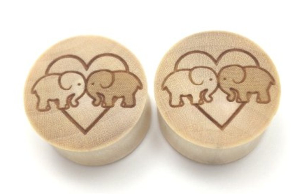 100% Handmade''Elephants In Love'' Organic Wood Plugs -You Choose Color/Type of Wood and Size from 9/16'' -30mm