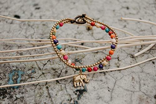 Changnoi Fancy Brass Elephant Charm Bracelet, Hippie Bracelet, Festival Bracelet, Gypsy Bracelet, Gift for friend ()
