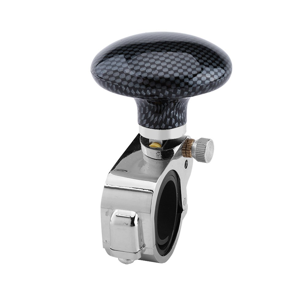 Keenso Steering Wheel Knob Handle Power Aid Ball Boosts Spin Knob Clamp Car Accessory for Universal Car Auto Vehicle (Carbon Fiber)