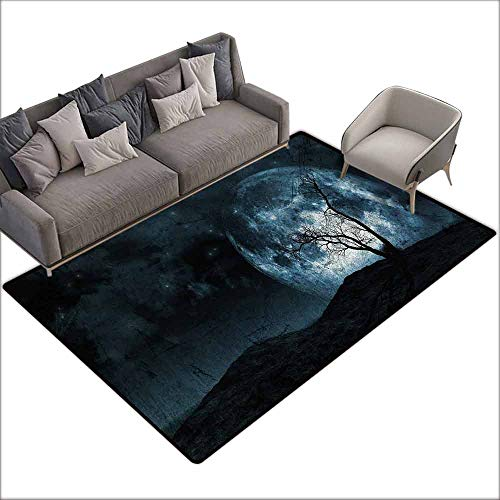Bathroom Floor mats Fantasy,Night Moon Sky with Tree Silhouette Gothic Halloween Colors Scary Artsy Background,Slate Blue 48