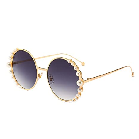 Yangjing-hl Gafas de Sol Redondas de Color Perla Gafas de ...