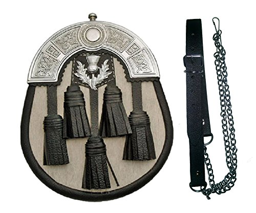 (5 Tassel White And Black Scottish Kilt Sporran And Belt)