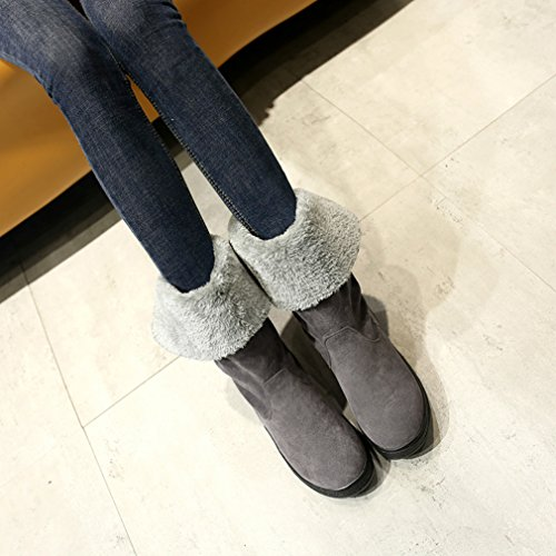 Womans Warm calf Snow Ankle Low Winter Heel Boots Grey Boots MFairy Mid 6qwg6p