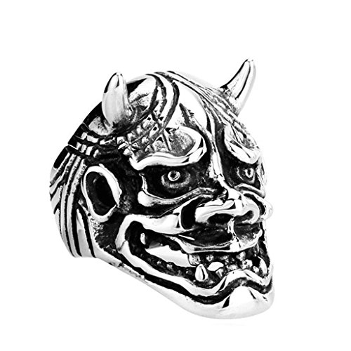 [Aooaz 316L Stainless Steel Mens Ring Bands Mask Silver Size 8 Punk Gothic Vintage Novelty Ring] (Tarnished Costume Jewelry Cleaner)