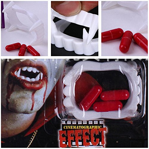 Pill Capsule Costume (NPLE--Halloween vampire teeth fangs with fake blood pills party costumes supplies Kits)
