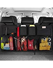 SURDOCA Car Trunk Organizer, 3rd Gen [8 Times Upgrade] Super Capacity Auto Hanging Organizers, Equipped with 4 Magic Stick, Car Trunk Tidy Storage Bag with Lids, Space Saving Expert, Black (BLACK)
