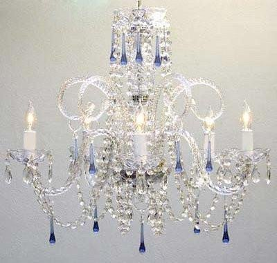 BLUE CRYSTAL CHANDELIER CHANDELIERS LIGHTING