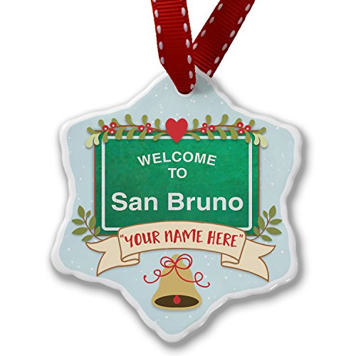 Add Your Own Custom Name, Green Road Sign Welcome To San Bruno Christmas Ornament NEONBLOND