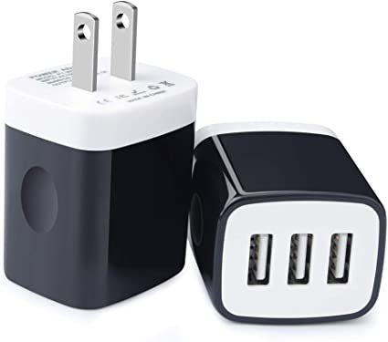Charger Plug,Phone Charger Box,HopePow 2Pack USB Travel Wall Charger 3.1A Fast Power Adapter 3-Port USB Wall Charger Compatible with iPhone Xs/XS ...