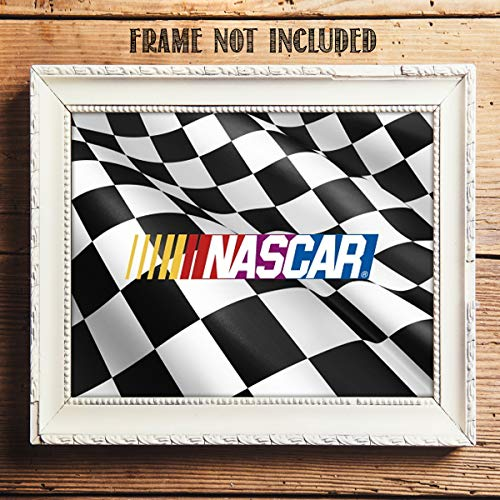 (Nascar Checkered Flag- Winners Flag Flying- Art Sign Print- 8 x10