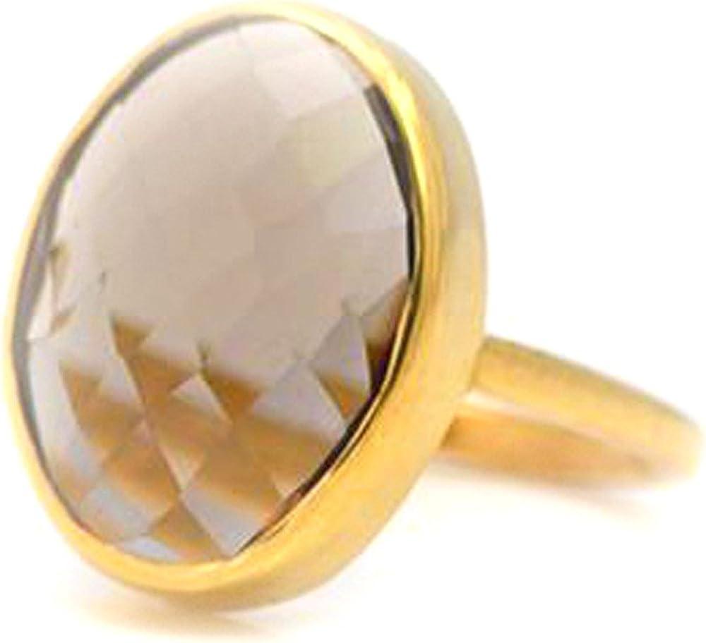DV Jewels Smokey Quartz Large Oval Bezel Set Ring