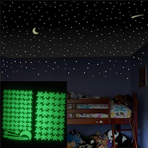 Leewos Wall Stickers, Glow in The Dark Star Wall Murals Star Moon Luminous Wall Decal for Kids Room Wall Art Decor 103pcs (Glow In The Dark Stars Under $1)