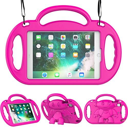 TIRIN Kids Case for iPad Mini 1/2/3/4/5,iPad Mini Kids Case - Shock Proof Smart Handle Stand Kids Case with Shoulder Strap for iPad Mini,iPad Mini 2nd,3rd,4th Gen,iPad Mini 5th Gen 2019, Rose
