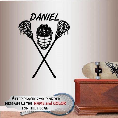 Wall Vinyl Decal Home Decor Art Sticker Lacrosse Helmet Sports Customized Name Boy Man Kids Room Removable Stylish Mural Unique Design ()
