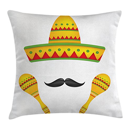 Mexican Throw Pillow Cushion Cover by Ambesonne, Famous Centerpiece Icons of Mexico Sombrero Moustache Rumba Shaker Mesoamerican Print, Decorative Square Accent Pillow Case, 28 X 28 Inches, Yellow (24 Ideas Centerpiece Christmas Easy)