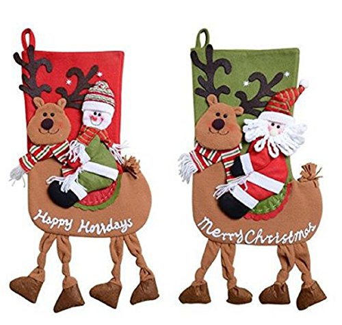 Wendin Classic Cute Christmas Stocking Decorations Gift Bag Xmas Character 3D Plush Linen Hanging Tag Set of 2 Santa, Snowman Ride Reindeer 22 inch (Stocking Snowman 22 Christmas)