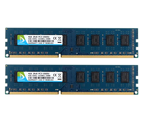 - DUOMEIQI 8GB Kit (2 X 4GB) DDR3 1333MHz DIMM PC3-10600 PC3-10600U 2RX8 CL9 1.5v (240 PIN) Non-ECC Unbuffered Desktop Memory RAM Module Compatible with Intel AMD System
