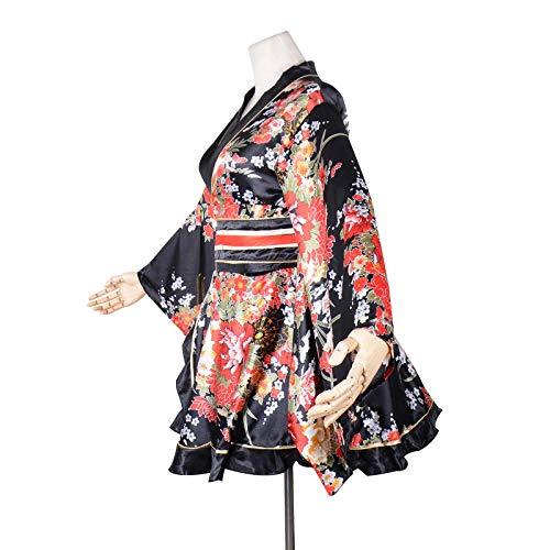 Women's Kimono Costume Adult Japanese Geisha Yukata Sweet Floral Patten Gown Blossom Satin Bathrobe Sleepwear with OBI Belt