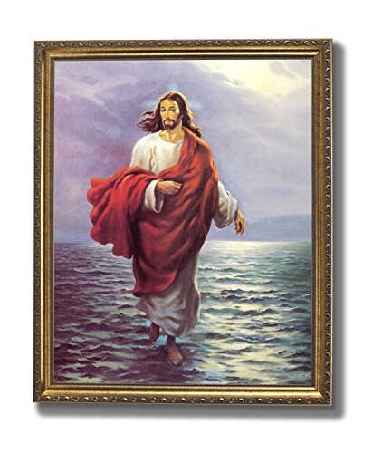 Jesus Water - Jesus Christ Walking On Water Religious Wall Picture Gold Framed Art Print