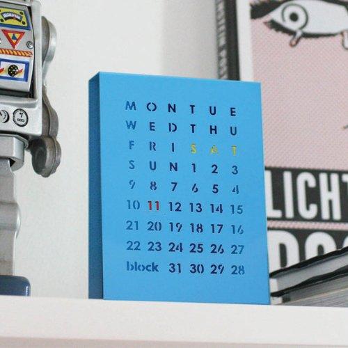 Block Perpetual Calendar, Blue
