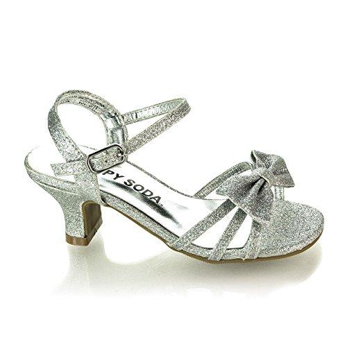 7ba202c1e2fa9 GirlyII Silver Glt Children s Open Toe Bow Slingback Small Block Heel  Sandals-9