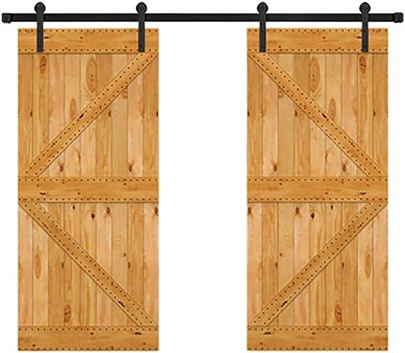 GWXFHT Herraje para Puerta Corredera Kit Kit de riel de Puerta corrediza con Soporte de Montaje en Techo de Doble Puerta de 200-400 cm, Rodillo Recto Negro rústico (Size : 400cm Double