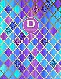 Monogram Journal D - Personal, Dot Grid - Blue & Purple Moroccan Design: Initial Notebook, 8.5 x 11 (Monogrammed Journals For Women)