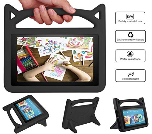 r e 7 Tablet Leather Case (7th/5th Generation,2017/2015 Released), [Corner Protection] Anti Slip Shockproof Light Weight Kids Friendly Protective Case (Black) ()