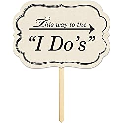 "Beistle This Way To the""I Do's"" Yard Sign, 10"" x 14.5"", White/Black"