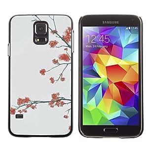 A-type Arte & diseño plástico duro Fundas Cover Cubre Hard Case Cover para Samsung Galaxy S5 (Trees Grey Autumn Nature)