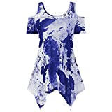 Hot Sale Blouse, Leedford Large Size Women Lace Printing Off Shoulder Shirt Short Sleeve Tops Blouse (3XL, Blue)