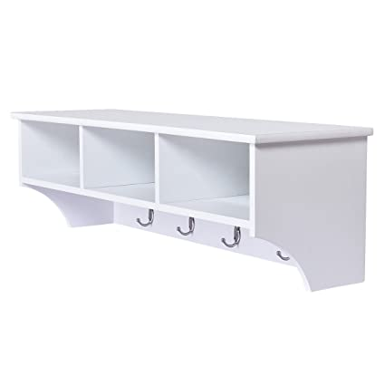 Delicieux Amazon.com: Coat Rack Wall Mount Storage Shelf Cubby Organizer Hooks  Entryway Hallway White: Home U0026 Kitchen