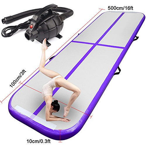 FBSPORT Inflatable Gymnastics AirTrack Tumbling Mat Air Track Floor Mats with Electric Air Pump for Home Use/Training/Cheerleading/Beach/Park and Water (Purple, 16.4)