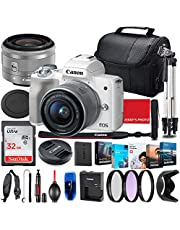 $689 » Canon EOS M50 Mirrorless Camera with 15-45mm STM Lens (White) Bundle + Premium Accessory Bundle Including 32GB Memory, Filters, Photo/Video Software Package, Shoulder Bag & More
