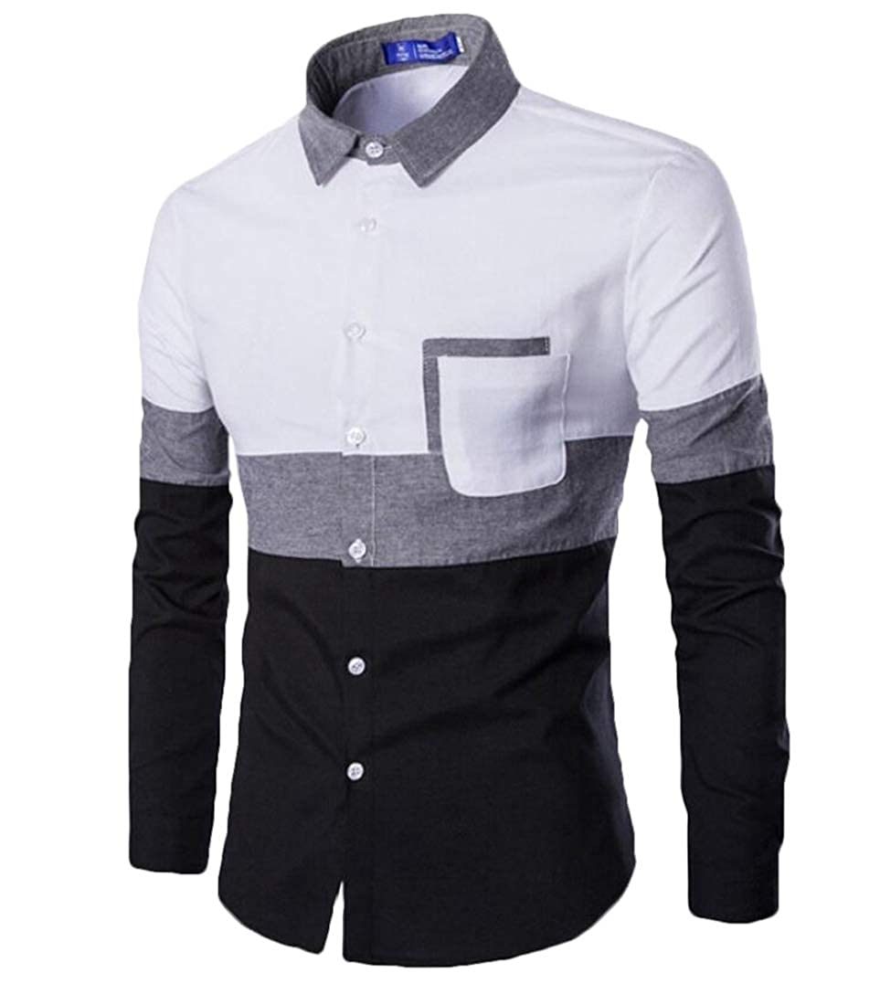 HTOOHTOOH Mens Slim Hipster Oxford Color Stitching Button Front Shirts