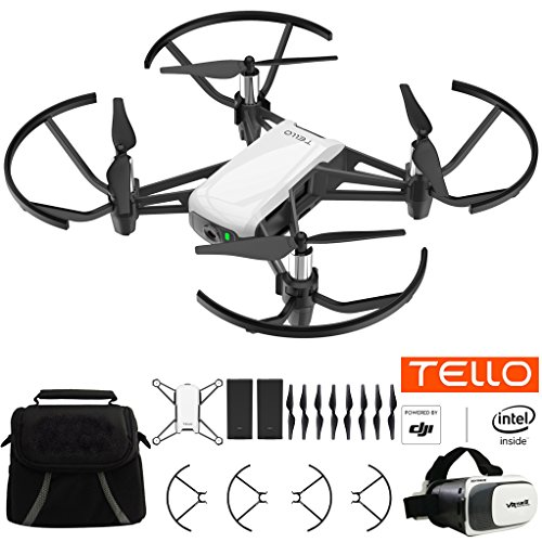 Tello Quadcopter Drone Bundle With Carry Case, Spare Battery And VR Goggles Headset
