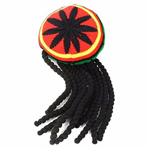 Polar Bear's Beanie Hot! Knitted Jamaica Rasta Cap Winter Warm Reggae Beanie Gorro Hats Striped Hip Hop Caps Long Braid Beanies Skullies