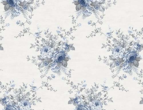 Wallpaper Designer Blue Floral Bouquet Trellis on Eggshell White