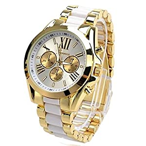 Wrisky Men Stunning Geneva Stainless Steel Roman Numerals Quartz Analog Wrist Watch