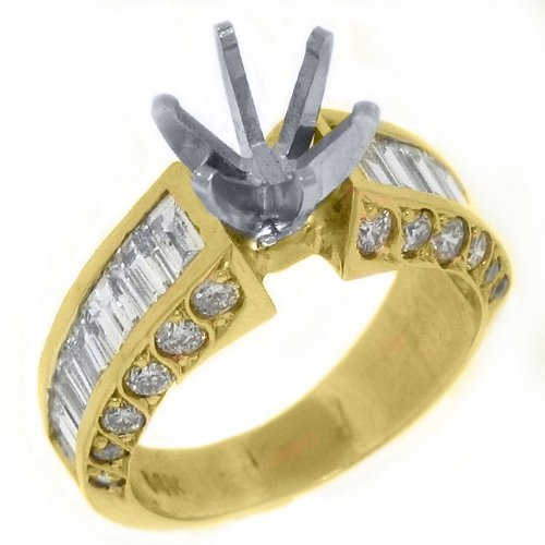 14k Yellow Gold Baguette & Round Diamond Engagement Ring Semi Mount 2.58 Carats