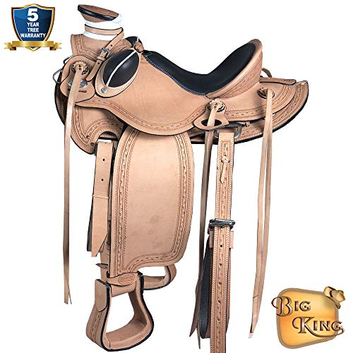 15'' HILASON Big King Western Wade Ranch Cowboy Roping Horse Saddle TAN