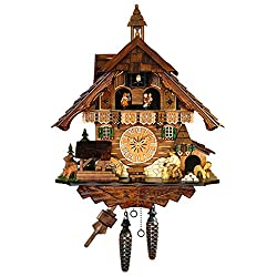 Alexander Taron Importer 483QMT  Engstler Cuckoo Clocks Family Living in  Cottage with The Dad Working in  The Lumber Mill