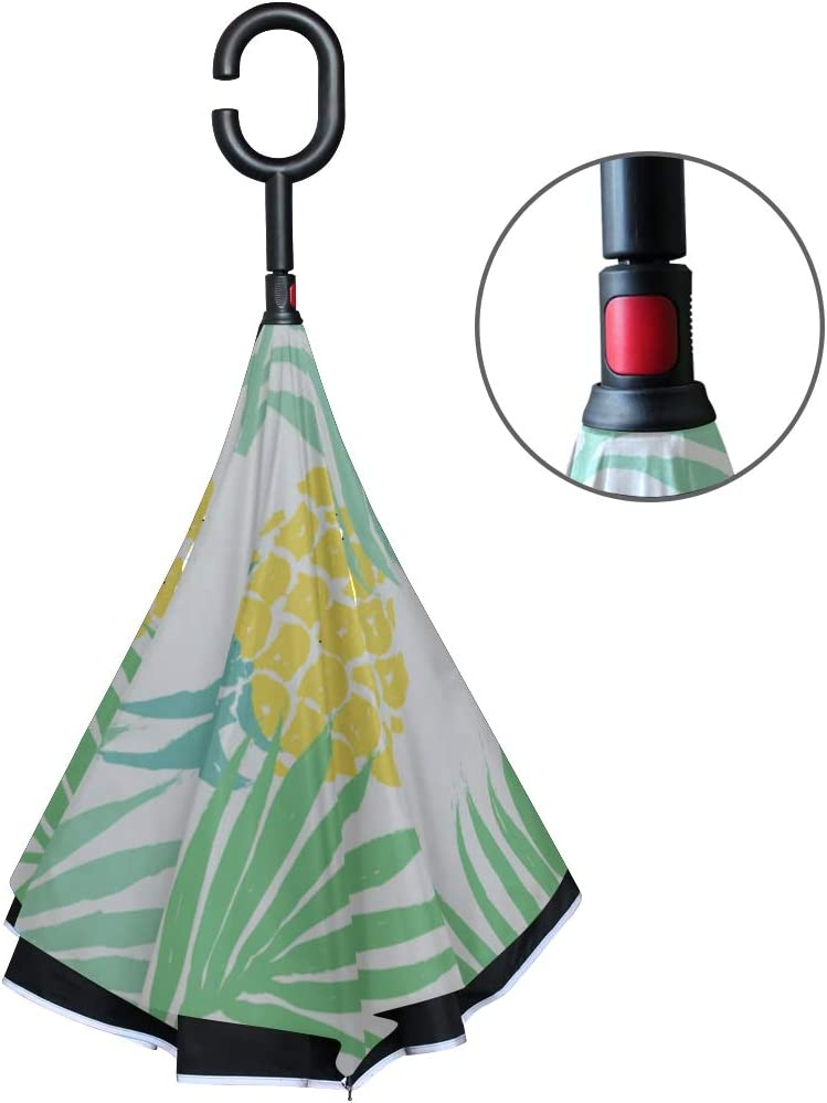 Double Layer Inverted Inverted Umbrella Is Light And Sturdy Tropical Reverse Umbrella And Windproof Umbrella Edge Night Reflection